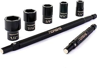 Norske Tools Norske NIBPI711 冲击扭矩 7 件可拆卸套筒螺母套装 7.62 厘米和 15.24 厘米轴,带 1/4 英寸(约 0.6 厘米)、0.64 英寸(约 0.6 厘米)、0.64 英寸(约 1.3 厘米)套筒
