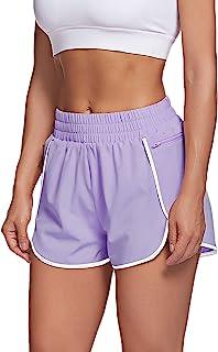 LaLaLa 女式健身短裤,带拉链口袋,速干运动短裤,运动弹性腰跑步短裤,带内衬