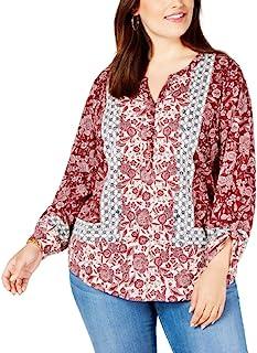 Style & Co. 女士运动加纽扣 V 领衬衫