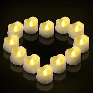 带计时器的电池茶灯蜡烛,Ymenow 12 件装 LED 闪烁无焰茶蜡电池供电逼真的蜡烛灯,适用于家庭浴室婚礼日期装饰 – 暖白色