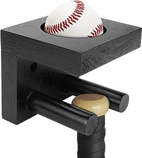垂直显示的棒球球棒壁挂式,黑色实木棒球棒展示盒,垒球蝙蝠支架,棒球棒和棒球支架,带隐形螺丝,用于纪念和收藏