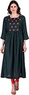 METRO-FASHION 女式派对服印度束腰上衣 A 字人造丝库尔塔连衣裙 * Large