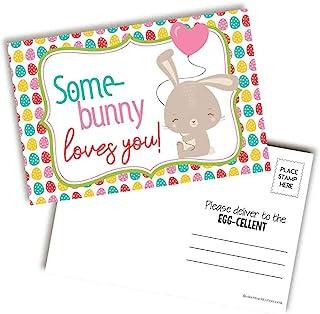 """一些兔子爱你可爱的复活节主题空白明信片发送给朋友和家人,4""""x6"""" AmandaCreation 填写记事簿(20)"""