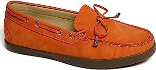 Driver Club USA 女士皮革巴西制造船鞋,带领结细节