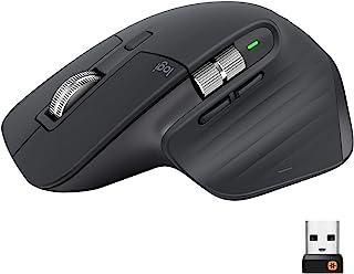Logitech 罗技 MX Master 3 无线鼠标,蓝牙,USB接收器2.4GHz连接,4000 DPI传感器,超快速滚动,适用于所有表面,7个按钮,PC / Mac / iPadOS,深灰色