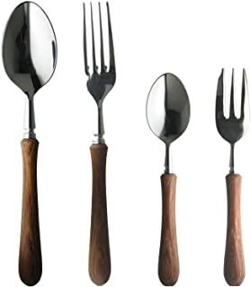 Nagao 燕三条 波士顿晚餐餐具套装 4件 18-8 日本制造 不锈钢层压强化木质