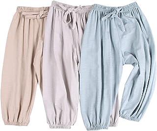 SOFEON 幼儿女童长款开衫柔软竹节棉哈伦裤,适合儿童 3 件装