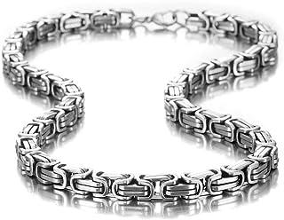 印象深刻的机械风格男士项链不锈钢银链,宽 6mm(45.7,58.42 cm)