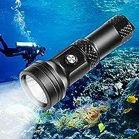 VOLADOR 潜水手电筒,4000 流明水下潜水灯带电源指示,CREE XHP 70 LED IPX-8 防水夜潜水手电筒,可充电 26650 电池,充电器,挂绳。