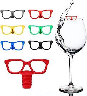 1 套眼镜塞吊坠酒饰套装,女主人礼物,晚餐派对,适用于品酒派对、葡萄酒礼品和礼品(6 个玻璃杯酒杯标识符和 1 个眼镜酒塞)