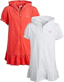 Pink Platinum 女童罩衫 – UPF 50+ 连帽拉链绒布沙滩浴袍(幼儿/小女孩/大女孩)