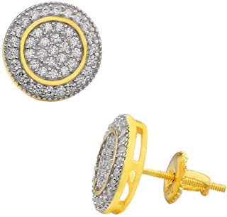 真正实心 925 纯银 - 男式耳环 - 14k 镀黄金 - 冰 CZ 11 毫米圆形耳环螺旋后盖 - 嘻哈浮雕饰