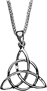 纯银凯尔特结三方克拉达吊坠男士项链 55.88 厘米