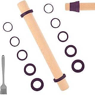 Sapid 16 英寸(约 40.6 厘米)木制擀面杖,可调节厚度环,易清洁面团滚筒,不粘榉木擀面杖,适用于馅饼、饼干、披萨、面包、意大利面(糕点刷、紫色)