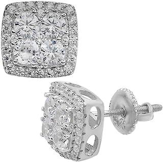 纯正 925 银冰锆石嘻哈耳环方形耳钉 ICY