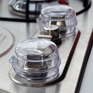JOM 透明炉灶旋钮*罩 - 5 件装 - 儿童*防护罩。适用于烤箱/炉灶/燃气灶的儿童防护锁 - 婴儿/幼儿厨房*防护罩 - 检查尺寸