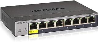 NETGEAR Smart Managed Pro 8端口千兆以太网LAN交换机 GS108T (1个PD端口,可通过Insight Cloud进行本地或远程灵活管理,无风扇金属外壳)