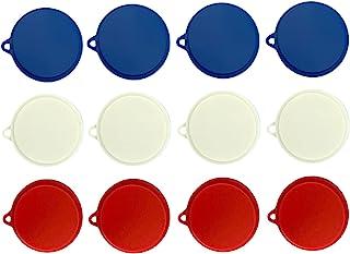 12 件宠物食品罐盖狗和猫 Leftover 罐盖和人类罐货物节约器 - 适合 3 英寸和 3.25 英寸(约 7.6 厘米)罐子 - 紧密贴合 - 红白蓝美国制造