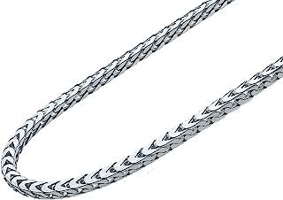 MiaBella 纯银意大利 2.5mm 实心钻石切割编织佛朗哥链项链手链男女皆宜 925 意大利 7、8、16、18、20、22、24、26、30 英寸