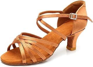 RoseMoli 女式拉丁舞鞋缎面专业交际舞厅萨尔萨练习表演舞鞋 棕褐色-2.2 英寸鞋跟 8.5