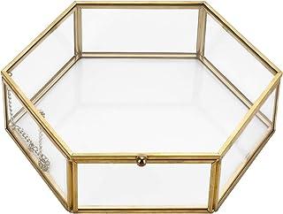 Hipiwe 复古玻璃首饰盒 - 金色六角形珠宝展示收纳盒纪念品盒家居装饰盒盒 用于存放饰品戒指耳环箱