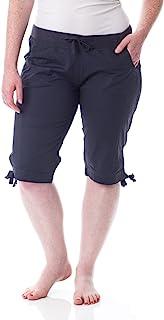 Alki'i 女式棉质浅褶七分裤,舒适腰部 DA2136