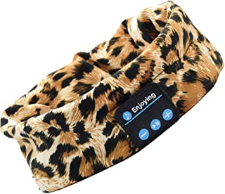 *耳机蓝牙头带 - 无线,Anhendeler Upgrage 女式无线运动音乐头带耳机带内置麦克风,适用于锻炼、瑜伽、航空旅行、跑步豹纹