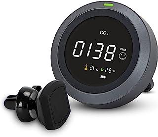 车载 CO2 监视器带通风口支架,3 合 1 带 CO2 米,温度,湿度,二氧化碳检测器,适用于汽车,RV,卡车,NDIR 传感器,0~5000ppm 范围