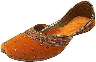 Step n Style 女式平底天鹅绒 Khussa 鞋 Punjabi Jutti Rajasthani Mojari 乐福鞋高跟鞋