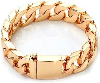 14K 金古巴链式手链 男式真正 14MM,14K 克拉钻石切割重型带结实厚扣美国制造 20.32 厘米.