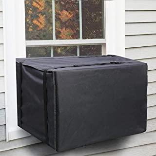 窗户空调机罩,防尘防水窗户交流盖保护盖带可调节肩带,适用于户外窗户外部,交流盖大号尺寸 27.5 宽 x 25 深 x 19 高,黑色
