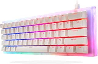 Womier K61 60% 键盘机械游戏键盘热插拔键盘双 RGB 背光紧凑 61 键适用于 PC PS4 Xbox One Mac(黄色开关,白色)