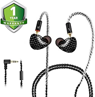 入耳式监听耳机有线耳塞耳机 / 耳机带可拆卸电缆 / 隔音防汗运动耳机 HiFi 低音双驱动耳机适用于音乐家(混合颜色)