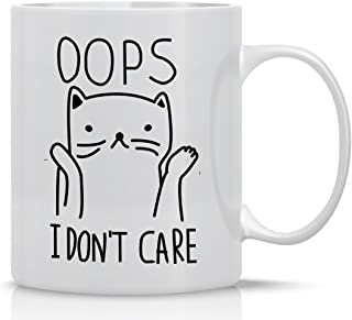 Oops I Don't Care 325ml 趣味咖啡马克杯,男女皆宜的可爱咖啡杯,酷炫有趣的猫咪配饰礼物,适合疯狂猫爱好者