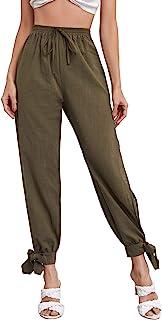 Floerns 女式纯色高腰开叉结下摆长裤