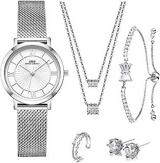 女孩珠宝套装 女式石英手表 套装 水晶设计 手链 项链 耳环 手表 套装 女表 淑女 妻子 妈妈礼物 祝福书