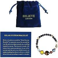Believe London 太阳能系统手链带珠宝袋和含义卡 - 可调节手镯适合任何手腕 - 9 种星球星星宇宙守护者