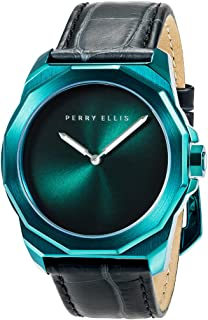 Perry Ellis Decagon 褪色表盘 44mm 石英模拟不锈钢防水手表皮革表带