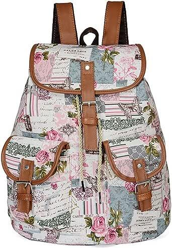 GINBL 帆布蝴蝶印花背包女式学生女孩书包