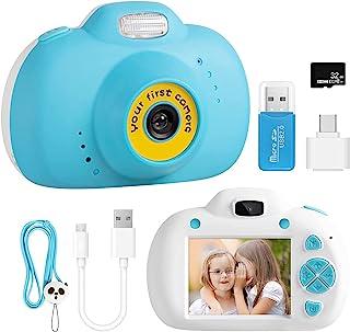 SEVEN LADY 男孩儿童相机,2.4 英寸视频幼儿儿童数码相机,可充电*记录玩具相机,带 32G SD 卡,适合 8-10 岁儿童的圣诞节生日礼物