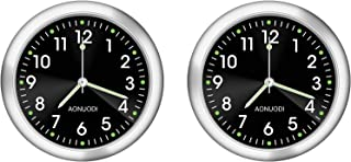 Veanic 2 件装模拟汽车时钟,夜光石英时钟,迷你棒模拟仪表,家庭汽车船仪表板装饰手表(黑色)