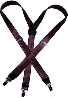 Hold-Ups 2.54 厘米宽缎面棕色背带 Y 形背银防滑夹
