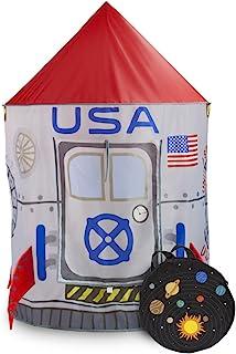 Space Adventure Roarin' Rocket 游戏帐篷,带米奇路储物袋 - 室内/室外儿童宇航员太空船游戏屋,非常适合球场球和想象生成假装游戏