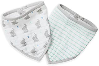 aden + anais Bandana 围嘴,* 纯棉细布,柔软吸收 3 层,可调节,21.59 cm X 40.64 cm,2 件装 Baby Star 均码