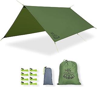 DEERFAMY 10 x 10 英尺(约3.04 x 3.04米)野营篷布,防水、防雨帐篷,篷布带铝制桩、大而轻的雨棚遮阳棚、方形足迹、绿色