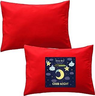 Gina Era 人体工程学幼儿枕套(2 件装) * 纯棉枕套,尺寸:1425 英寸(约 3.6 厘米),适合儿童枕头尺寸 13 x 18 或 12 x 16 - 可机洗(红色)