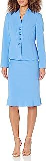 Le Suit 女式 4 粒纽扣 V 领绉纱褶边下摆裙套装
