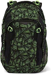 Satch Match,符合人体工程学的书包,可扩展至35升,额外的前袋 Black Neon Green one size