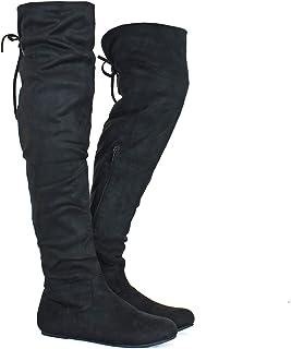 Guilty Heart 女式舒适过膝低跟仿麂皮靴 - 膝盖以上人造革弹性系带后靴 Blackv8 Suede 6
