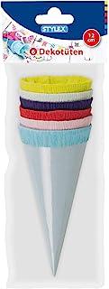 装饰袋,6 个迷你糖袋,约12 厘米高,颜色:浅蓝色、粉红色、红色、深蓝色、浅*、黄色、光面卡纸制成,带绉纸封口,非常适合学校使用